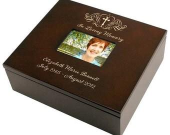 Engraved Holy Cross Memorial Keepsake Box