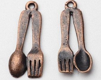 10pc 21X8mm antique copper finish Fork Spoon pendants-2919O