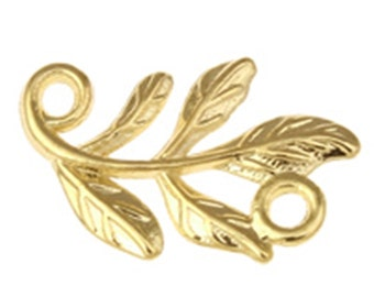 8pc KC gold color plated 15x10mm metal leaf links-4710