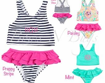 Monogrammed Girls Swimsuit / Children and Toddler Bathing Suit / Personalized / Choose from 3 Patterns / Kids Tankini / Girls Bikini