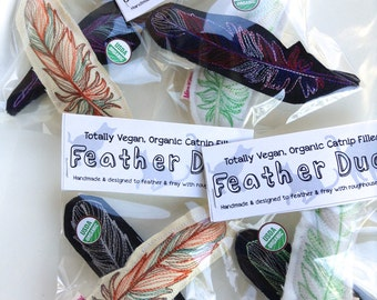 Cat Toy Feathers, Vegan Embroidered, Organic Catnip Set of 2 Toys