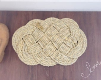 "Nautical Rope Knot Door Mat, Ocean Plait Deck Mat, Reclaimed Leaded 14mm Rope, Nautical Decor, Large 22""x15"""