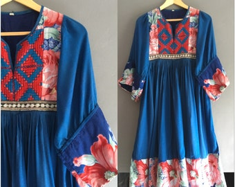 Indian Cotton Peasant Smock Dress Small