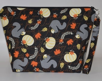 Squirrels and white pumpkins project bag