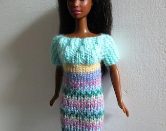 Barbie clothes - multi-coloured dress