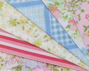 6 Vintage Sheet Fat Quarter Bundle - Reclaimed FQs in Pink Blue & Green