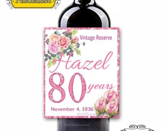 Custom Wine Labels - Birthday, Wedding Labels,  (Personalized) Set of 6 Digital FILE