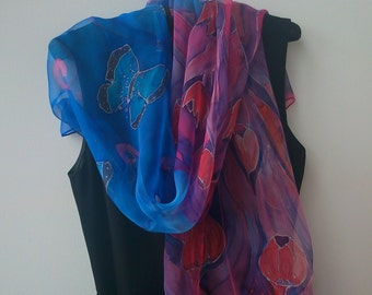 Thinking of You Blue and Magenta Chiffon Scarf for Her. Tulips Hand Painted Long 18 x 71 Art Scarf. Transparent Chiffon Scarf. Blue Scarf