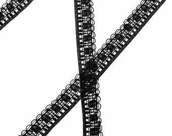 "5 7/8 Yards of Vintage 7/16""  Pretty Black Lace Trim. Border Trim. Small Looped Edge. Woven Design. Narrow Lace Trim. Lip Trim. Item 3839T"