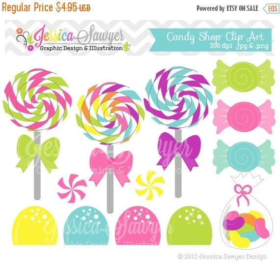 80% OFF - INSTANT DOWNLOAD,  candy shop clip art or lollipop clipart for personal and commercial use