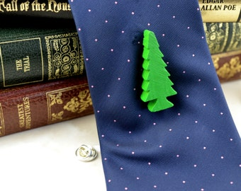 Brooch or Tie Pin - Green Fir Tree - Upcycled - Repurposed - Wooden Toys - Fathers Day Gift