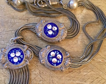 19th c Antique Leontine Sterling Silver Necklace Double Side Victorian Enamel Slide Chain FOB Lobster Clasp  Victorian Choker Beautiful