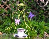 Large Angel Bird Feeder - Tea Cup Bird Feeder - Lime Garden Decor - Bird Lover - Metal Yard Art