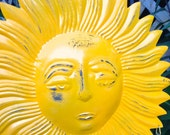 Bright Yellow Sun Face Wind Chime - Celestial Hanging Decor - Outdoor Metal Yard Art