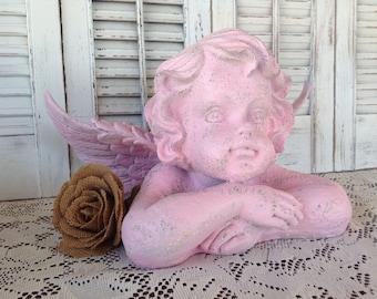 Large Pink Cherub/Angel - Pink Statue Shelf Sitter - Garden Cherub Bust