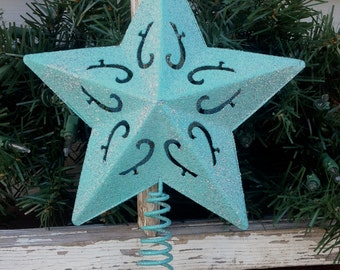 "Glittery Turquoise Star Christmas Tree Topper / 7"" Metal Star / Christmas Holiday Decor"