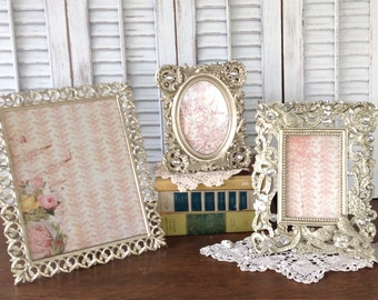 soft silver birds bling frames 8x10 4x6 set of 3 eclectic picture frames table top easel back