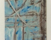 sale aceo URBAN LANDSCAPE 4 original kimartist brut city folk modern naive palm trees aqua robins egg turquoise blue green brown white sfa
