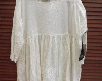 RITANOTIARA Georgia cotton silk voile ivory Prairie Oversized Top All SIzes Oversize MidWest Prairie Shabby Chic Boho Lagenlook long sleeves
