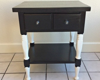 Black and White Night Stand End Table