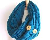 SALE Ready to Ship Teal Infinity Loop Scarf Braided Cable Knit Peacock Neckwarmer Blue Scarves with Buttons Women Girls Accessories