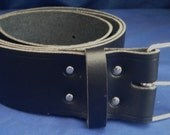 "Black Leather Belt 2"" Wide (50mm) with Choice of Buckle and Sizes Handmade Real Leather"