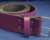 "Purple Leather Belt 2"" Wide (50mm) with Choice of Buckle and Sizes Handmade Real Leather"