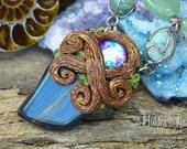 Entwined Jade & Tigers Eye Gemstone Necklace handcrafted clay pendant aventurine larimar hidden treasury