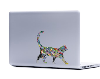 Ornate Cat laptop sticker | cat lover FREE SHIPPING kitten crazy cat lady cat cell phone decal car window sticker cat decor cat lover gifts