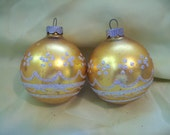 Vintage Christmas Ornament Lot of 2 Shiny Brite Mercury Glass Gold Color  circa 1960s-1970s