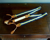 CLASSIC Vintage MILLER WHITE of Philadelphia Yellow & Navy Blue Satin or Silk Repp Striped Trad / Ivy League Adjustable Braces Suspenders.