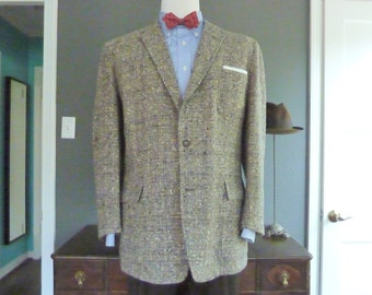 RARE Vintage Late 1940s - Early 1960s Grey Tweed 3 Patch Pocket Trad / Ivy League Sack Jacket 44 R.  Made in USA.