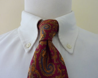 Vintage GANT Multi-Colored Blue & Gold Paisleys on Maroon Trad / Ivy League Neck Tie.  Made in USA.