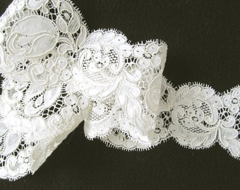 Off White Laid Thread Flat Border Lace; Bridal or Formal 3 Different Lengths
