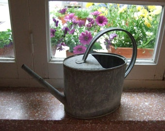 Antique French Galvanized Small Watering Can. Country Garden, Balcony.