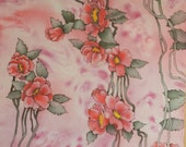 Pastel pink colored  flower silk scarf. Hand painted flowers. Hand painted silk scarf. Ready to ship.