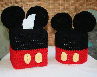 Disney Inspired Crochet Mickey Mouse Tissue Box Cover, *Tissue Box Cover Only*