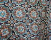 Vintage 1970s polyester scarf geometric abstract floral  21 x 22 inches