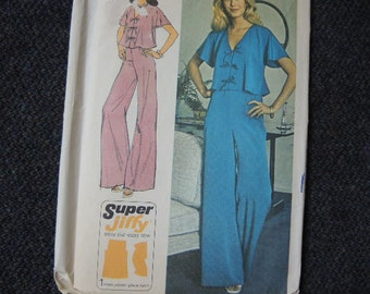 vintage 1970s simplicity sewing pattern 6355 misses super jiffy top and pants size 12