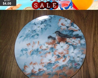 SALE 60% Off Bird collectors Plate, Robins in Dogwood, Franklin Mint Heirloom Recommendation series