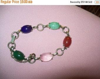 SALE 60% Off vintage silvertone faux stone bracelet, vintage bracelet