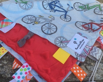 XL bikes Tag&Tow sensory ribbon blankie, Lovie. Ready to ship.