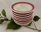 Vintage Christmas red bowls, restaurant ware, dipping, dessert, set of 8