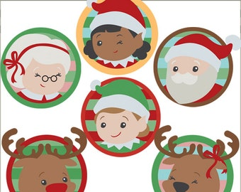 Christmas Clip Art Santa and Elves -Personal and Limited Commercial Use- Christmas Santa, Mrs Claus, Reindeer Clipart