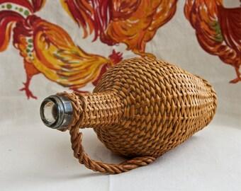Vintage wine bottle…wicker wrapped bottle…glass bottle…small demijohn.