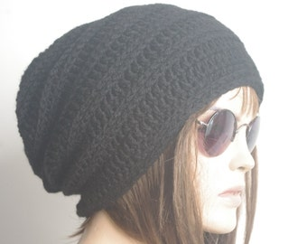 READY SHIP gift for women Black Womens hat - chunky knit Slouchy    Christmas Fashion