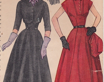 """50s Dress and Bolero Jacket Vintage Sewing Pattern - Simplicity 8421 - Size 16, Bust 34"""", Complete Partially Cut"""