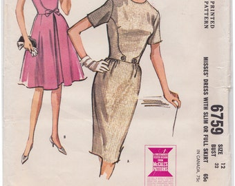 "1960s Curve Seaming Bodice Slim or Full Skirt Dress Vintage Sew pattern - McCall's 6759 - Size 12, Bust 32"", Partially Cut"