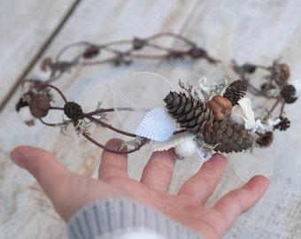 Woodland Wedding Hair Accessory, Forest Hair Crown,  Elven Crown, Natural Bridal Headpiece, Christmas Hair Crown