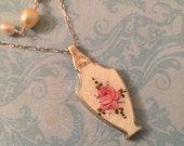 Vintage Guilloché  Enamel Locket, White Enamel and Rose Vase, Layered Pearl Necklace, Wedding Locket, Gift for Her